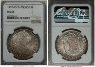 Charles IV 8 Reales 1807 Mo-TH MS64 NGC, Mexico City mint, KM109. A sterling example of this iconic type, quite rare in this choice designation.  HID9...