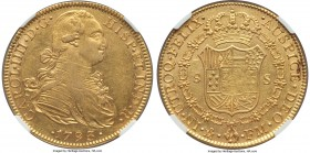 Charles IV gold 8 Escudos 1793/2 Mo-FM AU58 NGC, Mexico City mint, KM159 (overdate unlisted). An intriguing unlisted overdate--the only other example ...