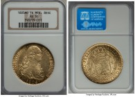 Charles IV gold 8 Escudos 1805 Mo-TH AU55 NGC, Mexico City mint, KM159, Onza-1041. Bright gold surfaces with moderate handling in the fields yet littl...