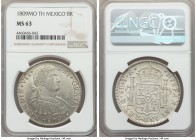 Ferdinand VII 8 Reales 1809 Mo-TH MS63 NGC, Mexico City mint, KM110. No weakness exists to speak of, some shallowness admitted in the engraving of the...
