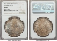 Ferdinand VII 8 Reales 1811 Mo-HJ MS63 NGC, Mexico City mint, KM110. With only one example graded finer at both NGC and PCGS combined, this stunning 8...