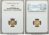 Ferdinand VII gold 1/2 Escudo 1814 Mo-JJ MS63 NGC, Mexico City mint, KM112. A scarce type at this choice level of preservation. Sunny with flashy fiel...