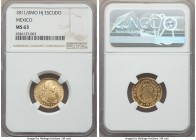 Ferdinand VII gold Escudo 1811/0 Mo-HJ MS63 NGC, Mexico City mint, KM121, Fr-49. A glowing example with radiant luster. Tied for second-finest graded ...