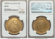 Ferdinand VII gold 8 Escudos 1809 Mo-HJ AU55 NGC, Mexico City mint, KM160. Only lightly handled with an exacting strike and minimal signs of rub on th...