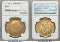 Ferdinand VII gold 8 Escudos 1814 Mo-JJ AU58 NGC, Mexico City mint, KM161. Fairly elusive edging on Mint State, and the finest specimen that we have h...