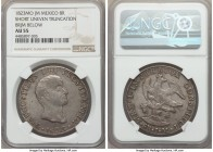 Augustin I Iturbide 8 Reales 1823 Mo-JM AU55 NGC, Mexico City mint, KM310. Variety with short, uneven truncation. Rarely seen in this relatively loft,...