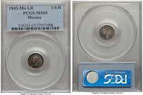 Republic 1/4 Real 1843 Mo-LR MS65 PCGS, Mexico City mint, KM368.6. Well-preserved, with argent tone that pulls outward from the lettering of the legen...
