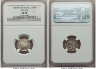 "Republic 1/2 Real 1824 Mo-JM AU58 NGC, Mexico City mint, KM369. ""Hook Neck"" Eagle type. A lustrous example of this early Republic issue.  HID999121020..."