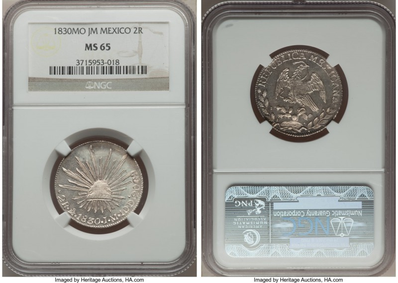 Republic 2 Reales 1830 Mo-JM MS65 NGC, Mexico City mint, KM374.10. Superbly lust...