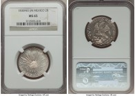 Republic 2 Reales 1830 Mo-JM MS65 NGC, Mexico City mint, KM374.10. Superbly lustrous, tied for finest certified across both NGC and PCGS.  HID99912102...