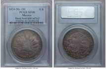 "Republic ""Hookneck"" 8 Reales 1824 Mo-JM XF40 PCGS, Mexico City mint, KMA376.2. A highly sought-after first-year-of-issue type, some minor central weak..."