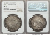 Republic 8 Reales 1830 Go-MJ MS63 NGC, Guanajuato mint, KM377.8, DP-Go11. Single dot after date. Beautifully toned and quite elusive in this choice pr...