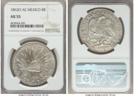 Republic 8 Reales 1863 O-AE AU55 NGC, Oaxaca mint, KM377.11, DP-Oa12. An unusually heavily-adjusted example.  HID99912102018