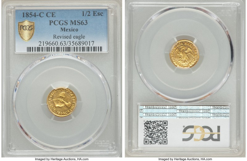 Republic gold 1/2 Escudo 1854 C-CE MS63 PCGS, Culiacan mint, KM378. Brilliant an...