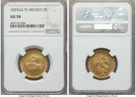 Republic gold 2 Escudos 1835 Ga-FS AU58 NGC, Guadalajara mint, KM380.3. Lustrous with a well-centered strike and extremely minimal circulation wear.  ...