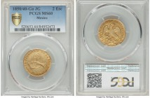 Republic gold 2 Escudos 1850/40 Ga-JG MS60 PCGS, Guadalajara mint, KM380.3. An interesting overdate variety of which only two examples currently grade...