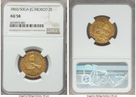 Republic gold 2 Escudos 1860/50 Ga-JG AU58 NGC, Guadalajara mint, KM380.3. Lightly circulated with highly gratifying amber tone gracing the devices an...