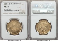 Republic gold 4 Escudos 1825 Mo-JM AU53 NGC, Mexico City mint, KM381.6. A captivating lustrous specimen with noticeable wateriness in the fields.  HID...