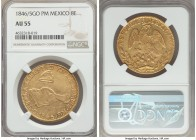 Republic gold 8 Escudos 1846/5 Go-PM AU55 NGC, Guanajuato mint, KM383.7. A rather scarce overdate, the beginning of the 5 visible at the top of the 6,...
