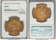 Republic gold 8 Escudos 1861 Go-PF AU58 NGC, Guanajuato mint, KM383.7. Expressing a level of detail towards the centers rarely encountered, and a love...