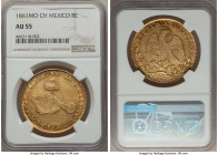 Republic gold 8 Escudos 1861/51 Mo-CH AU55 NGC, Mexico City mint, KM383.9. Fully wholesome, with a pleasing brightness, and well expressed features fo...