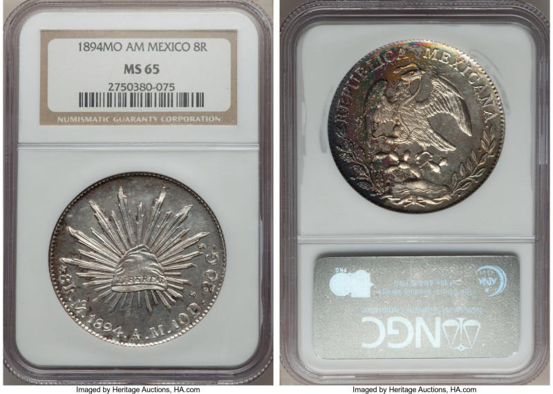 Republic 8 Reales 1894 Mo-AM MS65 NGC, Mexico City mint, KM377.1, DP-Mo80. A glo...