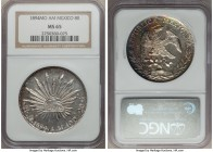 Republic 8 Reales 1894 Mo-AM MS65 NGC, Mexico City mint, KM377.1, DP-Mo80. A glorious gem, dazzling and bright, needle point strike with enchanting ra...
