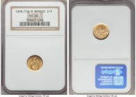 Republic gold Peso 1898/7 Go-R MS66 NGC, Guanajuato mint, KM410.3. An exceptional little gem, much finer than is usually encountered, with thin die po...