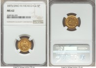 Republic gold 2-1/2 Pesos 1873/2 Mo-M MS62 NGC, Mexico City mint, KM411.5. A glimmering and watery specimen, only a few light wisps preventing a highe...