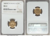 Republic gold 2-1/2 Pesos 1889 Mo-M MS61 NGC, Mexico City mint, KM411.5. Scarce in Mint State. Only a small handful currently grades finer.  HID999121...