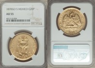Republic gold 20 Pesos 1870 Go-S AU55 NGC, Guanajuato mint, KM414.4. A overall problem free specimen, with scant visible evidence of handling, and bol...