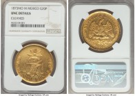 Republic gold 20 Pesos 1873 Mo-M UNC Details (Cleaned) NGC, Mexico City mint, KM414.6. Showcasing an exacting strike with minimal weakness, even aroun...
