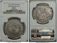 "Durango. Revolutionary ""Muera Huerta"" Peso 1914 AU55 NGC, Durango mint, KM621. An issue of great historical weight loaded with enticing visual contras..."