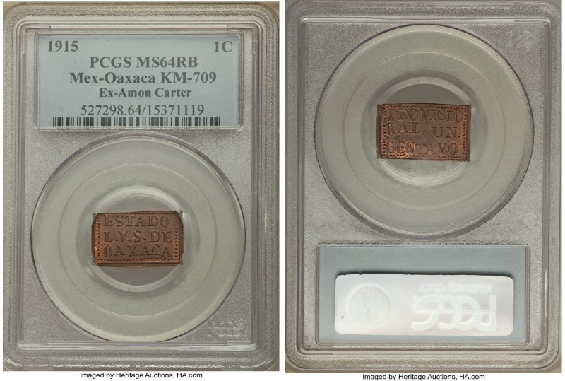 Oaxaca. Revolutionary Centavo 1915 MS64 Red and Brown PCGS, KM709. A very pleasi...