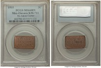 Oaxaca. Revolutionary 3 Centavos 1915 MS64 Brown PCGS, KM711. Among the finest examples of the type we have handled, the whole of the rectangular flaw...