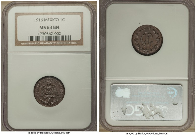 Estados Unidos Centavo 1916 MS63 Brown NGC, KM415. Exceptionally struck, clean f...