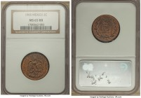 Estados Unidos 2 Centavos 1905 MS65 Red and Brown NGC, KM419. A very attractive specimen, quite elusive in this gem designation, superbly struck with ...