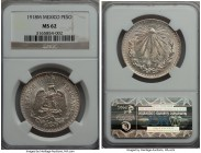 "Estados Unidos Peso 1918-M MS62 NGC, Mexico City mint, KM454. A scarce date from a brief two-year issue without ""0.720"" above the eagle.  HID999121020..."