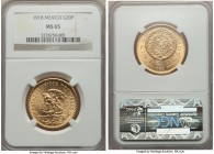 Estados Unidos gold 20 Pesos 1918 MS65 NGC, Mexico City mint, KM478. A bright and satiny example of this popular issue with strong appeal, even for th...