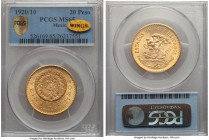 "Estados Unidos gold 20 Pesos 1920/10 MS65 PCGS, Mexico City mint, KM478. 1920/10 overdate type. Radiantly lustrous, with gold ""WINGS"" sticker.  HID999..."