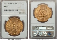 Estados Unidos gold 50 Pesos 1921 MS63 NGC, Mexico City mint, KM481. First year of issue and the scarcest date in the series. AGW 1.2056 oz.  HID99912...