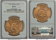 Estados Unidos gold 50 Pesos 1921 MS63 NGC, Mexico City mint, KM481. AGW 1.2056 oz.  HID99912102018