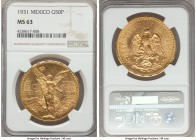 Estados Unidos gold 50 Pesos 1931 MS63 NGC, Mexico City mint, KM481, Fr-172. Quite choice and satiny around the features with only a few light wisps o...
