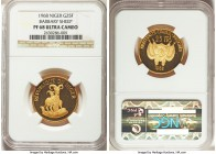 "Republic gold Proof ""Barbary Sheep"" 25 Francs 1968 PR68 Ultra Cameo NGC, KM9. AGW 0.2315 oz.   HID99912102018"