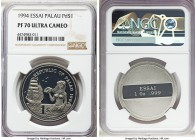 Republic palladium Proof Essai Dollar 1994 PR70 Ultra Cameo NGC, KM-Unl. A perfect gem and quite rare as one of only 15 pieces struck. APDW 1.000 oz. ...
