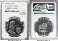 Republic palladium Proof 5 Dollars 1999 PR69 Ultra Cameo NGC, cf. KM18. Extolling German East Africa and one of only 7 pieces struck. APDW 1.0000 oz. ...