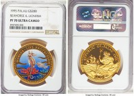 Republic gold Proof 200 Dollars 1995 PR70 Ultra Cameo NGC, KM44. Seahorse & Lionfish colorized. Displaying technical perfection and with a tiny, estim...