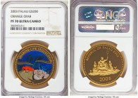 Republic gold Proof 200 Dollars 2003 PR70 Ultra Cameo NGC, KM-Unl, Fr-3. A shimmering gem featuring the Orance Crab portrayed in vivid color and showc...