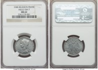 French Overseas Department aluminum Mule Franc 1948-(a) MS62 NGC, Paris mint, KM7. Pairing a French Equatorial Africa Franc obverse with a standard Re...