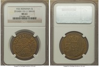 Ferdinand I brass Pattern 5 Lei 1922 MS63 NGC, KM-Pn195. A sizeable brass pattern, with an excellent strike, and truly choice surfaces throughout.  HI...